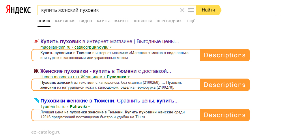 Description в Яндексе