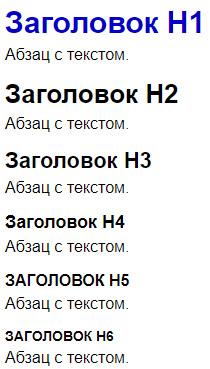 Пример заголовков H1, H2, H3, H4, H5 и H6 в интернет-магазине