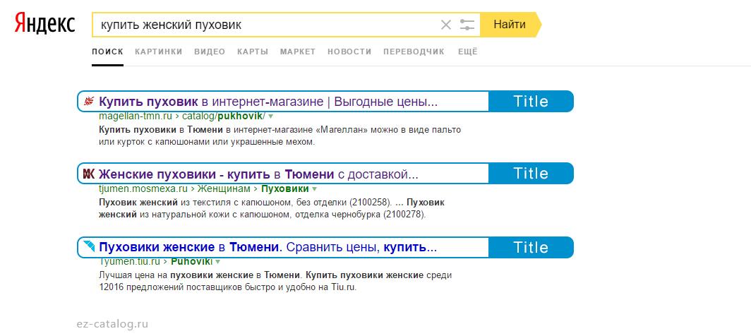 Title интернет-магазина в Яндексе